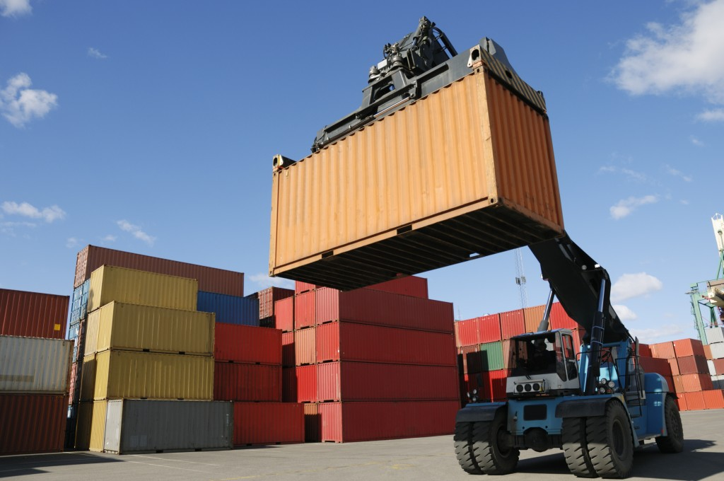 container lifted by forklift